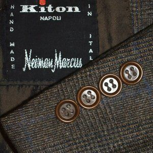 $10k 46L Kiton 100% Cashmere Brown Blue Plaid SUIT